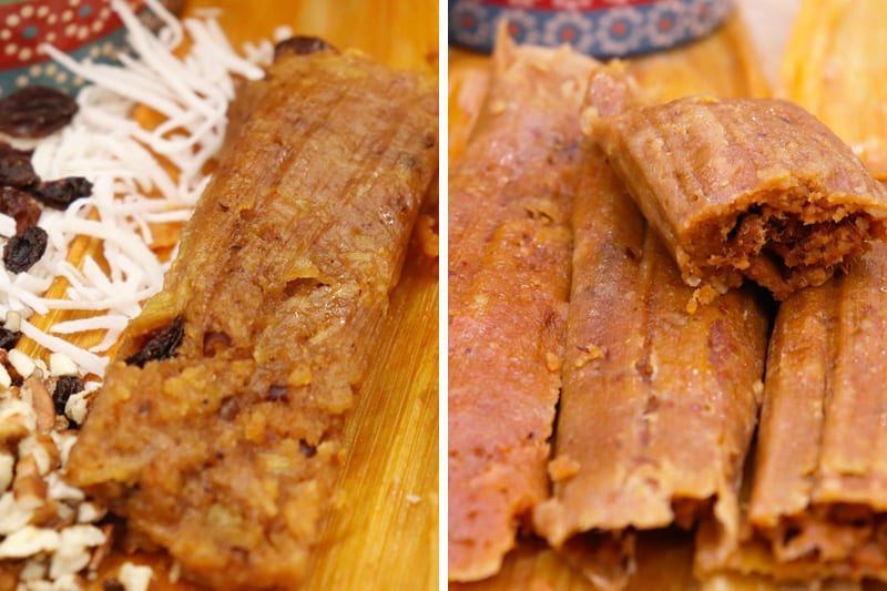 Tamales de Carne, Frijoles y Dulces