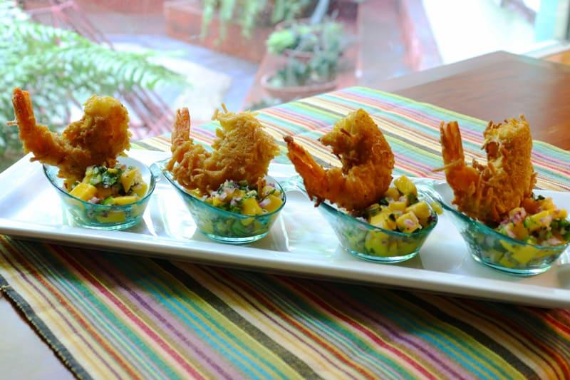 Camarones Con Coco y Salsa De Mango